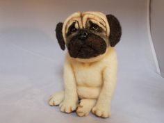 Pug Needle Felted Soft Sculpture One of a Kind Dog by grannancan