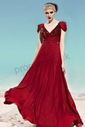 Claret Cap-sleeve Sequins Chiffon Formal Evening Dress