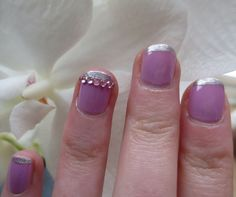 Lilac and silver manicure with a splash of sparkle