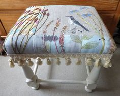 Foot stool with embroidered Mistle Thrush and flowers on a peiced background, with hand dyed fabrics and fringing. Stool hand painted in Annie Sloan paint. Painting Fabric Furniture, Furniture Upholstery, Upholstered Chairs, Painted Furniture, Patchwork Chair, Adirondack Chairs For Sale, Old Chairs, Chair Fabric, Chair Pads