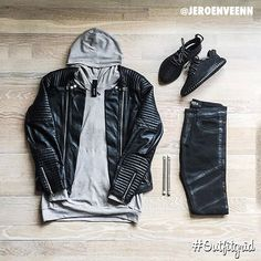 Outfit grid - Leather and hoodie Streetwear Mode, Streetwear Fashion, Streetwear Clothing, Streetwear Jeans, Streetwear Summer, Urban Apparel, Fashion Mode, Mens Fashion, Fashion Outfits