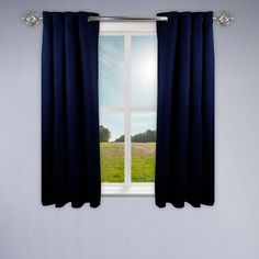 Rod Desyne Heavy Duty Dark Blue Drapery Panel - 52 in. W x 63 in. - The Home Depot Dark Blue Rooms, Green Rooms, Dining Room Windows, Dining Room Blue, Kids Curtains, Cool Curtains, Room Darkening Curtains, Blackout Curtains, Drapery Panels