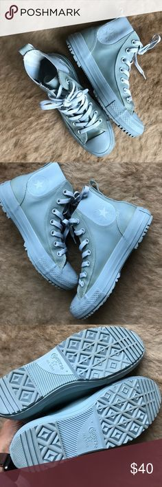 All weather arctic blue high top converse  These shoes are awesome!!! Water proof. These have only been worn a few times, they are in very good condition! Match just about everything in your wardrobe! These are a must have for every girls closet  Converse Shoes Sneakers