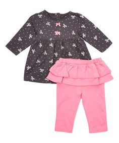 Another great find on #zulily! Black Bow Dress & Pink Skirted Leggings - Infant #zulilyfinds