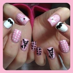 Pink white and black #nail art #nails www.finditforweddings.com