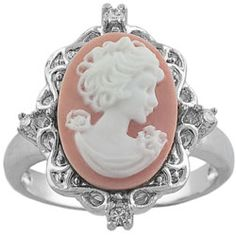 @Overstock - Click here for Ring Sizing ChartSterling silver pink lady cameo ringCubic zirconia accentshttp://www.overstock.com/Jewelry-Watches/Sterling-Silver-CZ-Pink-Lady-Cameo-Ring/3053768/product.html?CID=214117 $37.99