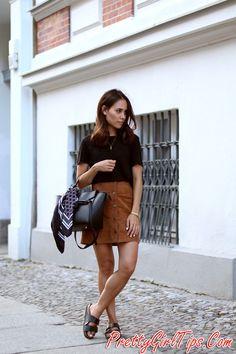 @prettygirltips Suede Button-Down Skirt