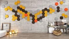 Miękkie panele ścienne 3D Fluffo, Fabryka Miękkich Ścian. Kolekcja Fluffo HEXA. www.fluffo.pl