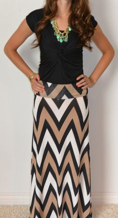 Chevron Is The New Black Maxi Skirt: www.sexymodest.com