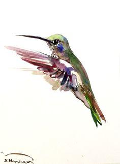 Hummingbird painting 12 X 9 in original watercolor by ORIGINALONLY