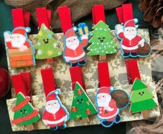 Birthday Decoration Gift Favors Wooden Clips Wooden Pegs,Wooden Clothespin,Christmas Ornaments,Christmas Party Decorations, Party Decorations Material:Wood cm x Thickness: 10 mm( conversion : 1 inch = Christmas Tree Design, Colorful Christmas Tree, Christmas Tree Ornaments, Christmas Ideas, Wooden Clothespins, Wooden Pegs, Kids Gifts, Craft Gifts, Snowflake Wedding