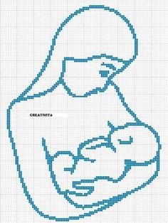 0 point de croix silhouette mère bébé - cross stitch silhouette mother and baby