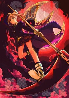 Maka Albarn, Meister, Soul, weapon form, text, moon; Soul Eater