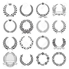 Stock Vector : A Set Of Nine High Detail Ceremonial Frames With Laurel Wreaths . : Stock Vector : A Set Of Nine High Detail Ceremonial Frames With Laurel Wreaths … Crown Drawing, Wreath Drawing, Logo Couronne, Oroboros Tattoo, Laurel Wreath Tattoo, Laurel Tattoo, Wheat Vector, Crown Illustration, String Art