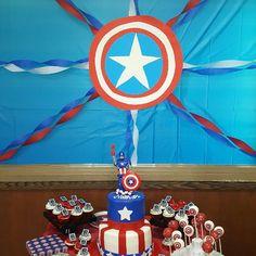 Captain America birthday party dessert table.