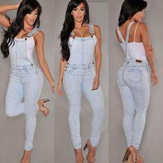 Women Fashion Denim Jeans Bib Pants Overalls Straps Jumpsuit Rompers Trousers