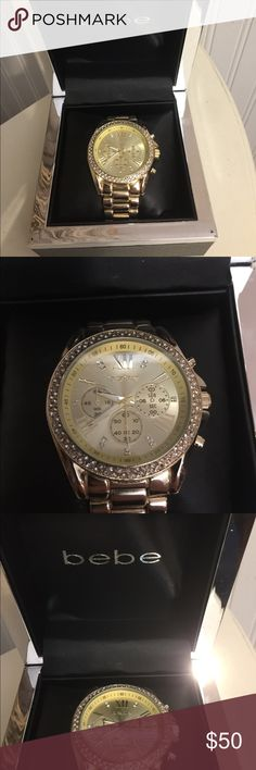 Bebe original wrist watch⌚️ Gorgeous Brand new, gold tone, works and functions, face of the watch has rhinestones all around, really beautiful, original and authentic Bebe, great for Christmas gifts or any holiday🎁🎄⌚️ bebe Accessories Watches