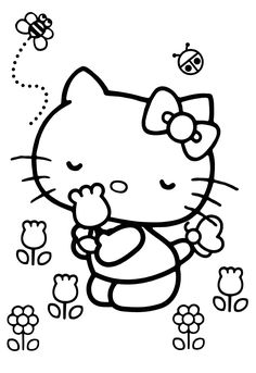 Hello Kitty Drawing, Hello Kitty Art, Hello Kitty Coloring, Hello Kitty Items, Pikachu Coloring Page, Mickey Coloring Pages, Cute Coloring Pages, Coloring Books, Christmas Ornament Template