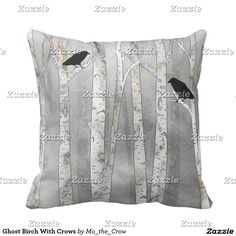 Ghost Birch With Crows Throw Pillow