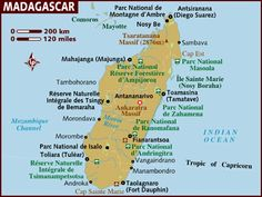 This is a map of Madagascar in the middle of which is their capital Ankaratra Massif.