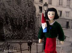 Amelie Poulain Doll With Garden Gnome Finger Puppet by HenAndChick