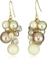 "Lenora Dame ""Romantic"" Pearl and Crystal Cluster Drop Earrings"