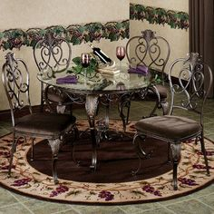 Regal Heights Dining Set Bronze Set of Five Kitchen Dinning Room, Dining Set, Dining Table, Dining Furniture, Outdoor Furniture Sets, Outdoor Decor, Furniture Scratches, Beautiful Homes, Bronze