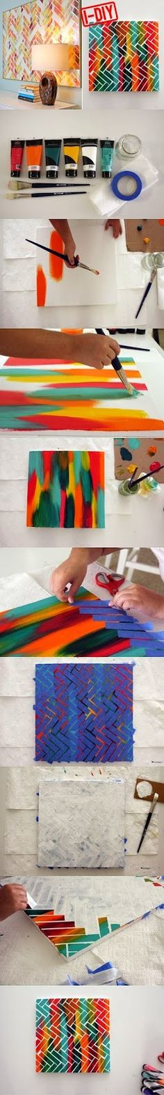 DIY Project Painters Tape Art, pretty awesome and neat that someone shared the idea. Just one thing. This is art, not just a DIY project. Cute Crafts, Crafts To Do, Diy Crafts, Arts And Crafts, Diy Projects To Try, Art Projects, Spray Paint Projects, Painters Tape Art, Cuadros Diy