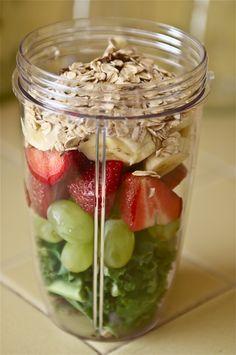 Kale, Grapes, Strawberries, Banana, Flaxseeds, Oats, Add Coconut Milk & Blend.