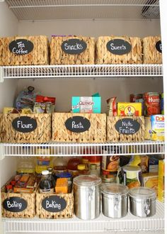 Love this pantry -- the woven baskets with chalkboard labels are to die for!!