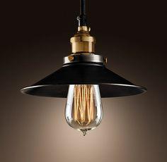 Restoration Hardware Enamel Pendant Lapmp with Edison bulb $129
