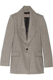 Draped-collar wool-blend coat