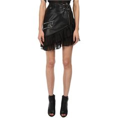 Philipp Plein Jana Skirt (Black) Women's Skirt ($1,238) ❤ liked on Polyvore featuring skirts, black, zipper skirt, leather skirt, fitted skirts, tiered ruffle skirt and leather zipper skirt