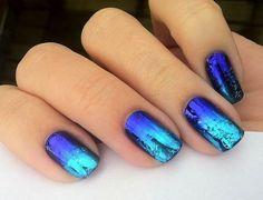 #manicura azul metalizada // #nailart metallized blue