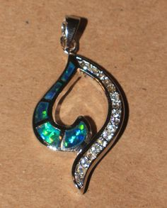 blue fire opal Cz necklace pendant Gemstone silver jewelry modern elegant  M23 #Pendant