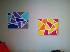 peinture sur toile abstraite multicolore avec des formes géométriques