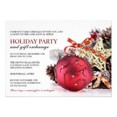 corporate holiday party and gift exchange invitation template featuring a red christmas ornament with ribbon