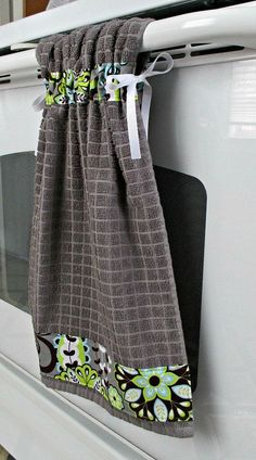 Tie Top Towels-Gray Kitchen Cotton Towel by allwrappedupandmore