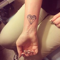 Simple geometric heart diamond tattoo #heart #tattoo #geometric #simple #girl #diamond