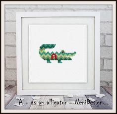 A as an alligator cross stitch pattern child room