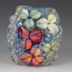 Water Blossoms 1 bead borosilicate/boro Kristan by redsidedesigns, $30.00