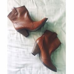 Brown western booties Short cowgirl style western booties with small chunky heel, and perforated faux leather detailing.  Size 6.5. Color: luggage. Great condition, worn only once. MIA Shoes Ankle Boots & Booties