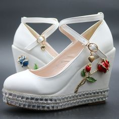 Find More Women's Pumps Information about white wedges shoes rhinestone pumps for women wedges high heels wedges pumps white high heels shoes platform wedges heels,High Quality pumps and heels on sale,China pumps shoes high heels Suppliers, Cheap shoe foam from Party heels Store on Aliexpress.com