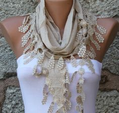 Beige  Scarf    Cotton Scarf   Headband  Cowl with by fatwoman, $17.00