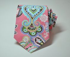 Pink Paisley Necktie for Men by Me and Matilda. $22.95, via Etsy.