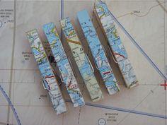♥ Klammern Landkartenpapier, 5er Set ♥ von Herzenssache auf DaWanda.com Map Crafts, Book Crafts, Diy And Crafts, Travel Bridal Showers, Old Maps, Travel Memories, Travel Themes, Papers Co, Bookmarks