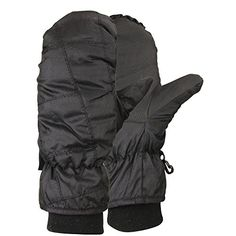 Women's 100 Gram Thinsulate Lined Winter Mittens (with Glove Lining)(Black, Medium) *** Check out the image by visiting the link.