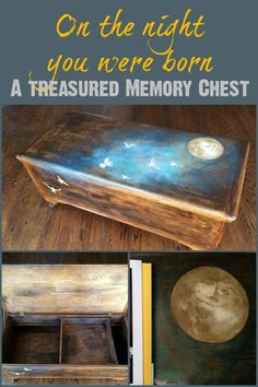 An antique toy chest is used as the canvas to create a scene from a favorite story book and becomes a treasured memory