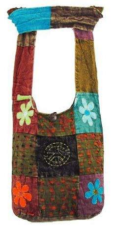 Hobo Bohemian Hippie Ripped Razor Cut Gypsy Peace Sign and Flower Patched Shoulder Sling Crossbody Cotton Handmade Purse Monk Bag Nepal by ShangriLa Nook. Save 50 Off!. $19.97. 100 % Handmade Cotton shoulder bag made by skilled Nepalese people to give you a unique look. Features: Wide shoulder strap lessens the pressure on your shoulder and makes it easy to carry. Zipper on top for security of your personal belongings. Inside pocket for sort and separation and so on. Perfect for sch...