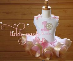 Winter ONEderland Birthday Outfit Pink and gold by TicklePants